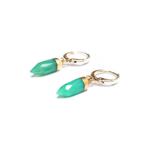 Chrysoprase Gemstone Huggie Earrings