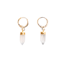 Clear Gold Quartz Gemstone Huggies Earrings