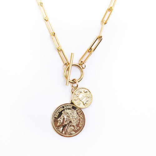 Bold Coin Toggle Gold Drop Necklace