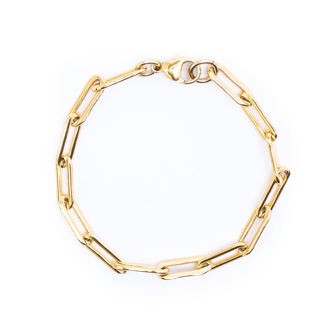 Bold Chain Link Gold Bracelet 15x5mm - 7
