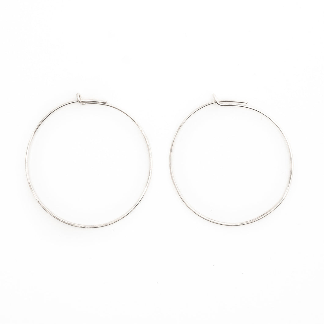 Thin Silver Hammered Hoops 29-65 mm