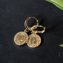 Coin Huggie Gold Earrings
