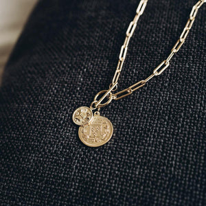 Bold Coin Toggle Gold Drop Necklace Media