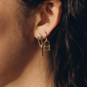 Double Chain Link Gold Earrings