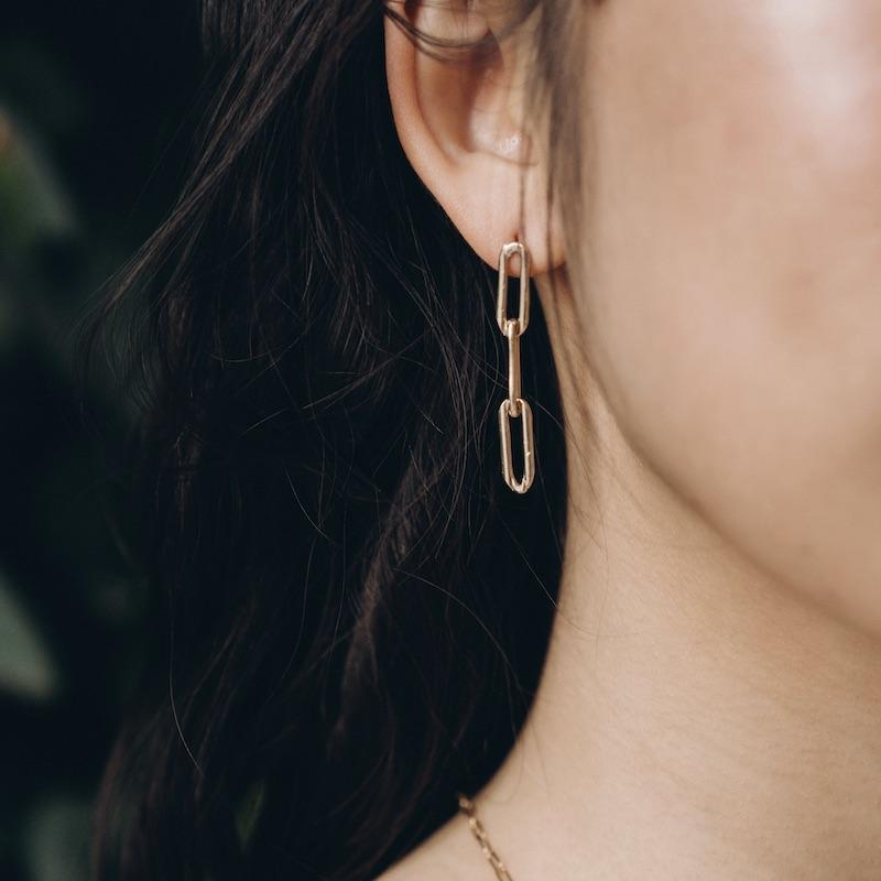 Triple Chain Link Gold Earrings