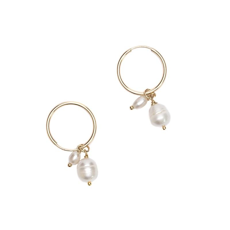 Double Pearl Drop Hoops