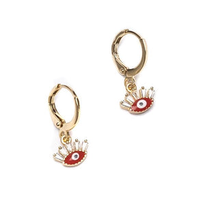 Flirty Evil Eye Huggies Gold Earring