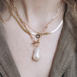 Baroque Pearl Toggle Gold Drop Necklace