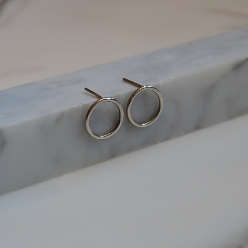 Hammered Circle Stud Earrings