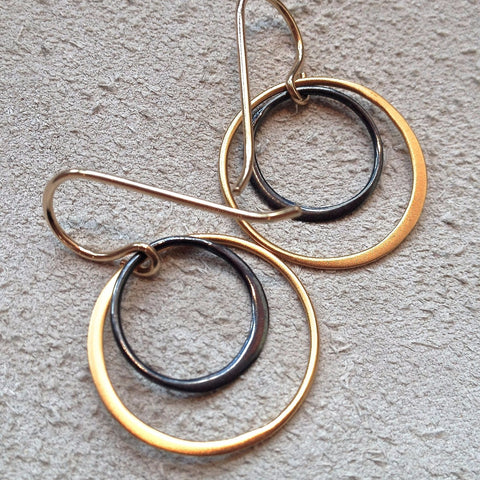 Mixed Metal Circle Earrings