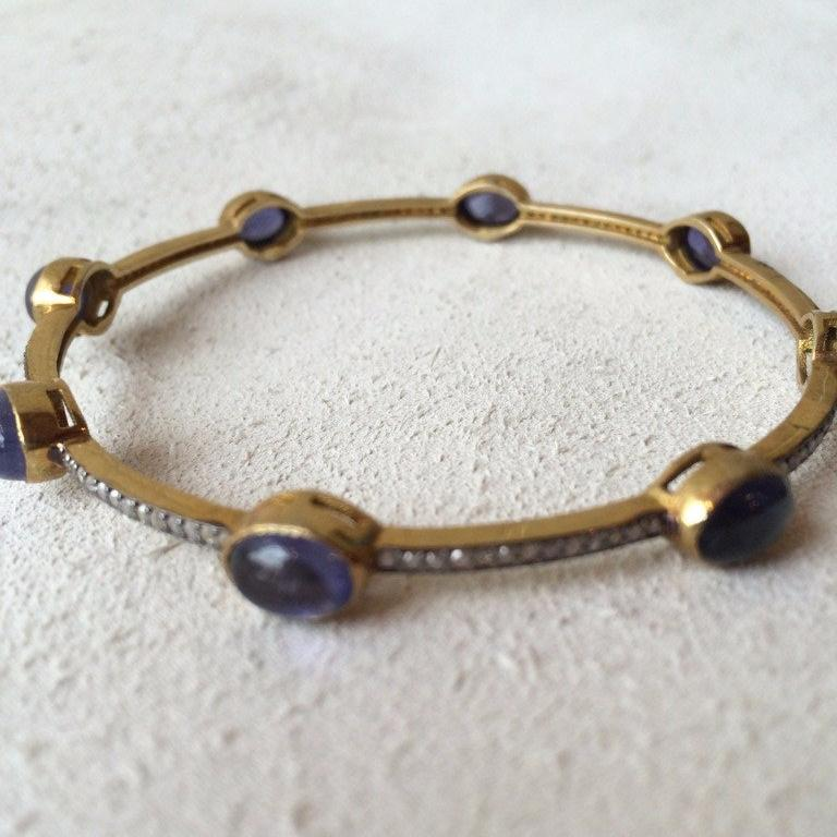 Iolite and Diamond Bangle