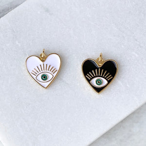 Evil Eye Enamel Heart Charm