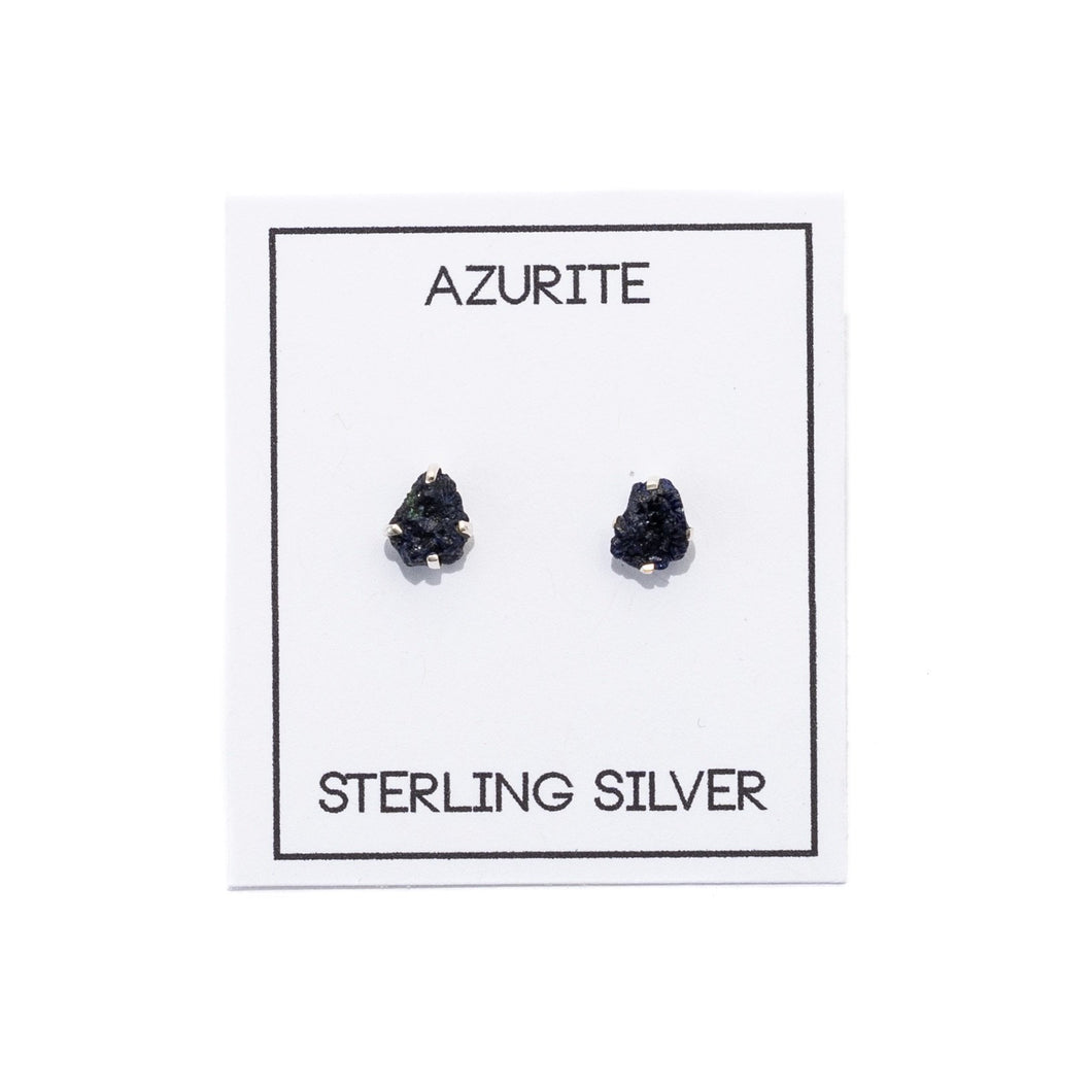 Azurite Gemstone Prong Earrings For Intuition
