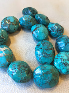 Large Faceted Turquoise Strand