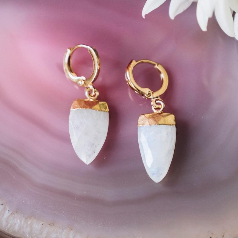 Chalcedony Teardrop Gemstone Huggies For Balance
