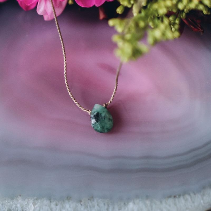 Emerald Briolette Gemstone Necklace For Patience