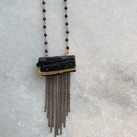 Black Tourmaline Fringe Necklace