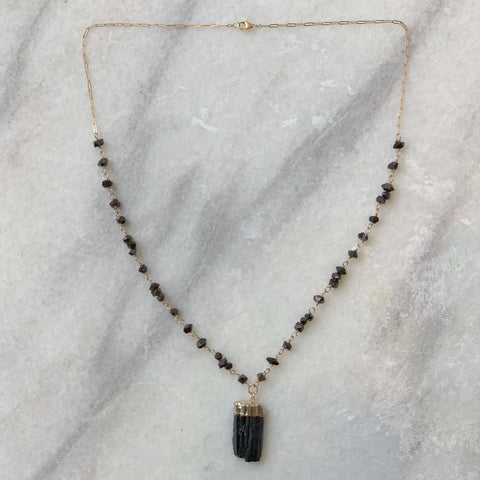 Black Tourmaline Pendant with Black Herkimer Chain