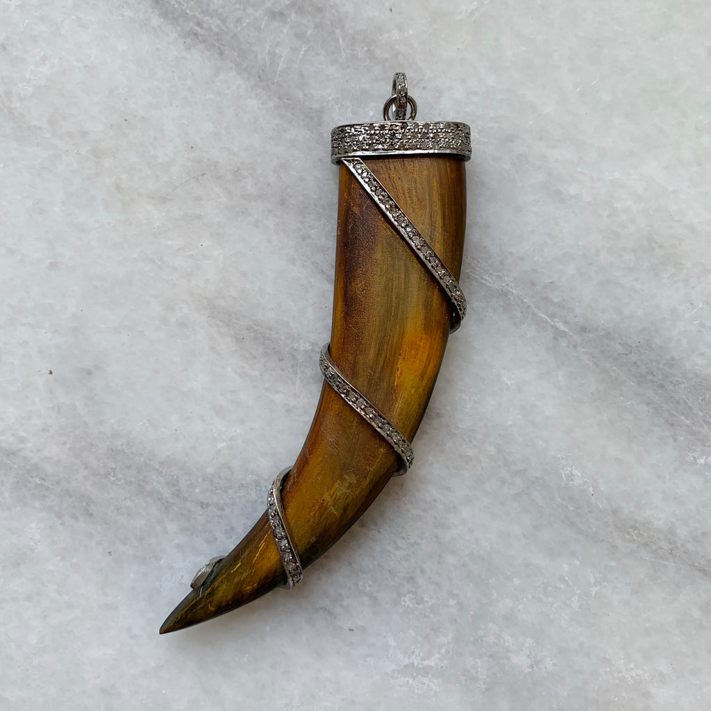 Diamond Capped Spiral Horn Pendant