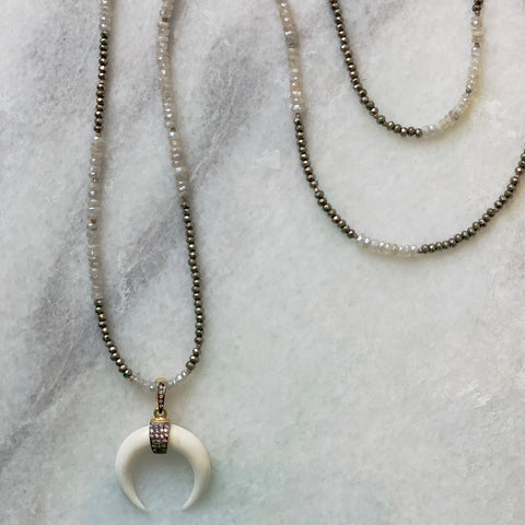 White Topaz Pavé Horn on Moonstone and Pyrite Necklace
