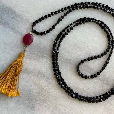 Black Garnet with Ruby and Silk Tassel