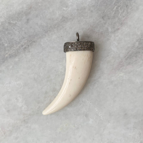 Diamond and Bone Horn Pendant