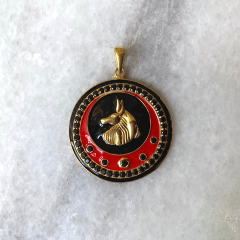 Enameled Diamond Anubis Pendant in Red