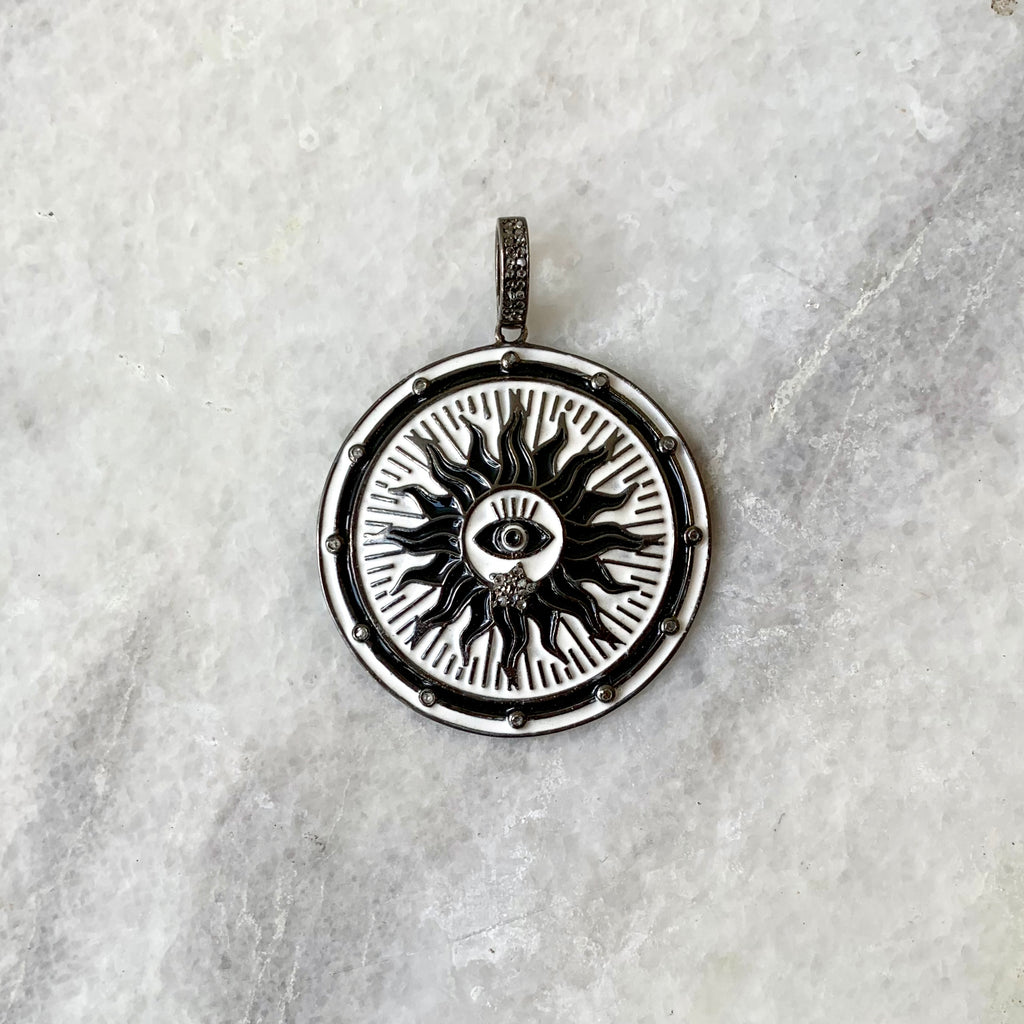 Enameled Diamond Solar Evil Eye Pendant in White