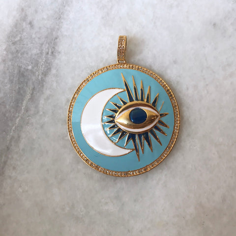 Enameled Diamond Evil Eye Pendant in Turquoise