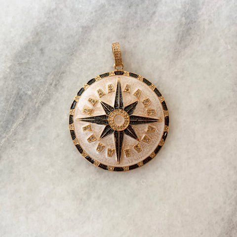 Enameled Diamond Compass Pendant in White