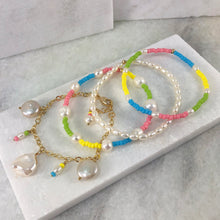 Rainbow Pearl Elastic Bracelet Project with Charm Bracelet
