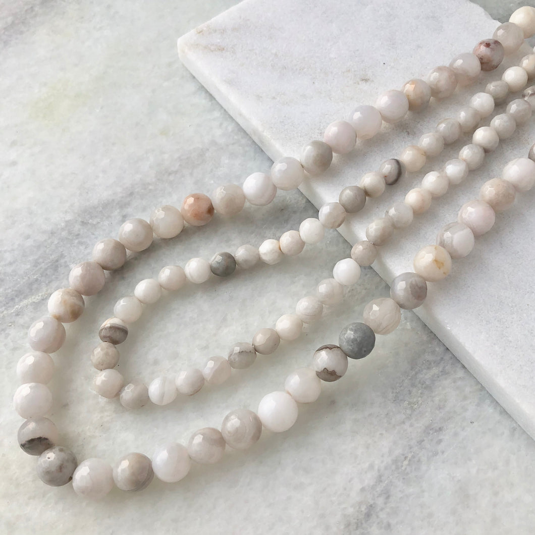 Faceted White Lace Agate Bead Strand