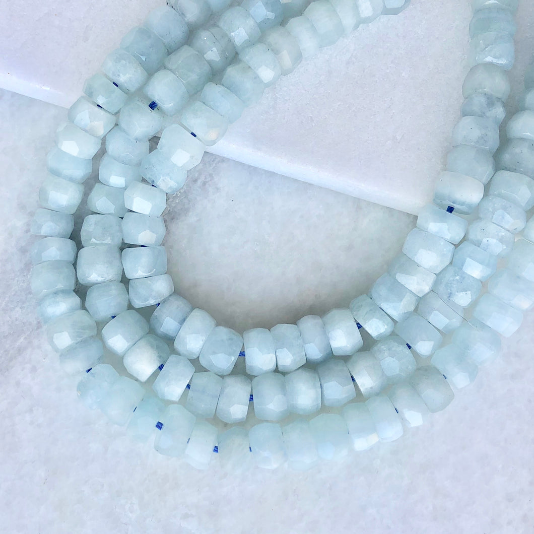 Faceted Aquamarine Bead Strand 9mm