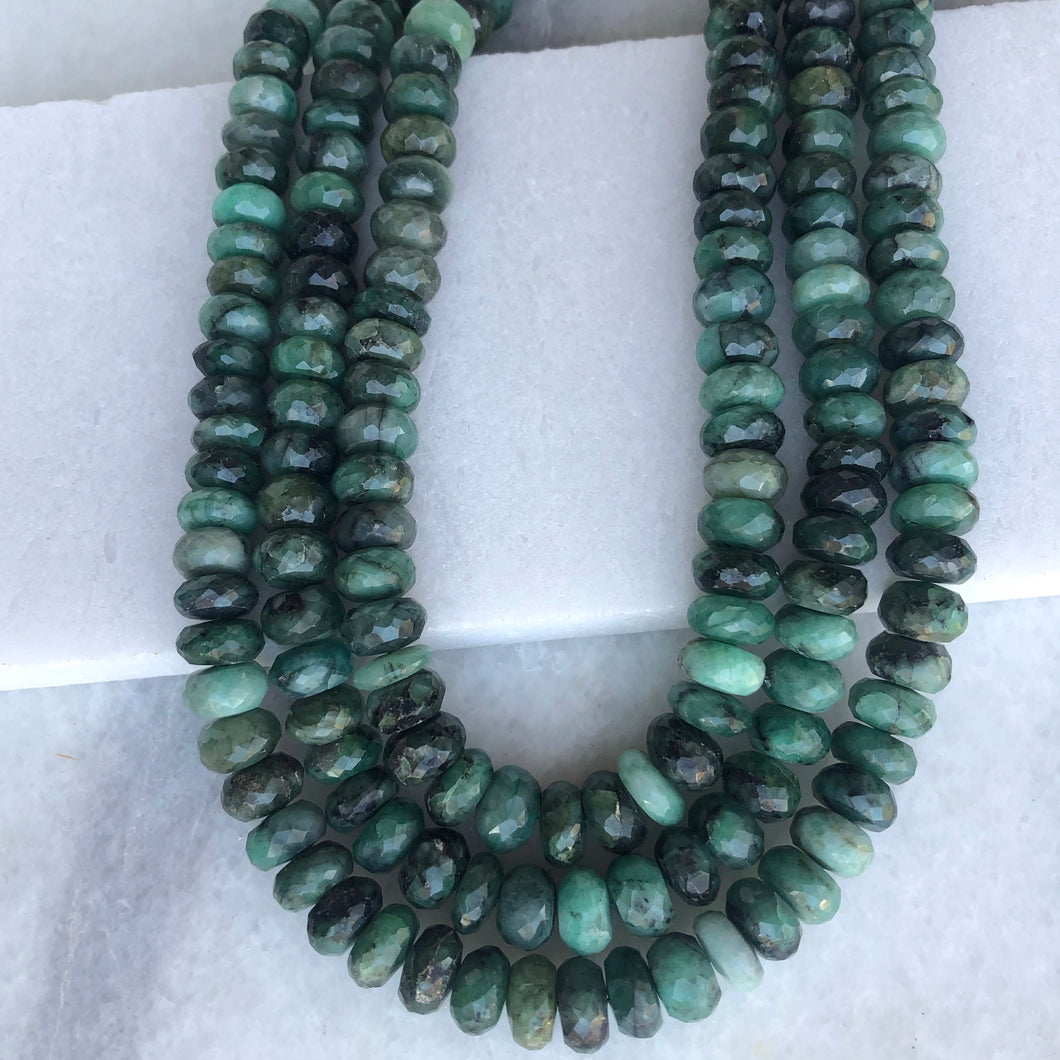Faceted Emerald Bead Strand 10mm