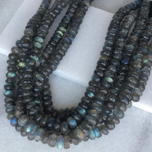 Faceted Labradorite Bead Strand 9mm