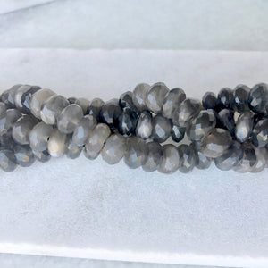 Faceted Grey Moonstone Bead Strand 9mm