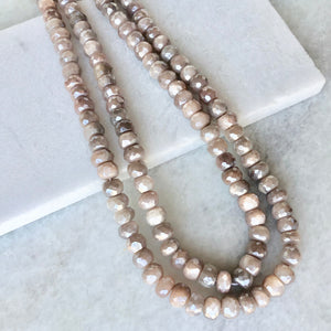 Faceted Peach Moonstone Bead Strand 6mm