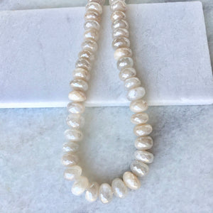 Faceted Peach Moonstone Bead Strand 12mm