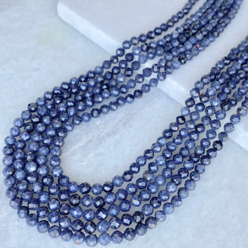 Faceted Sapphire Bead Strand 4mm