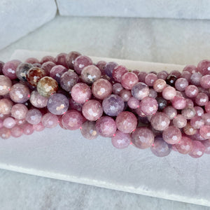 Faceted Ruby Bead Strand 6-10mm