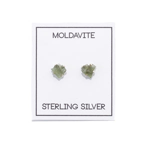 Moldavite Gemstone Prong Earrings