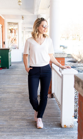 Laura Blue Side Stripe Ankle Pant