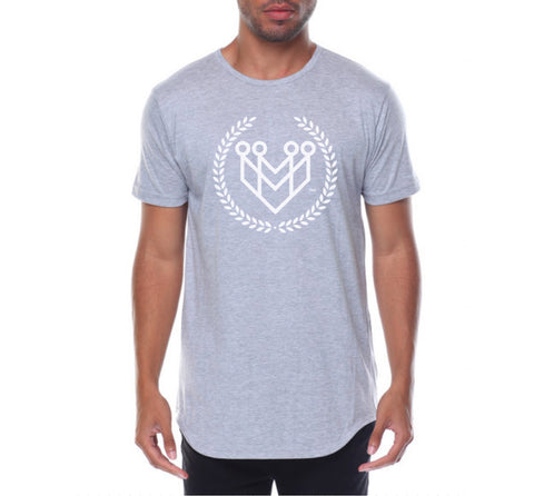 CLASSIC LOGO CURVED HEM TEE - H.GREY - Made4Mankind Clothing