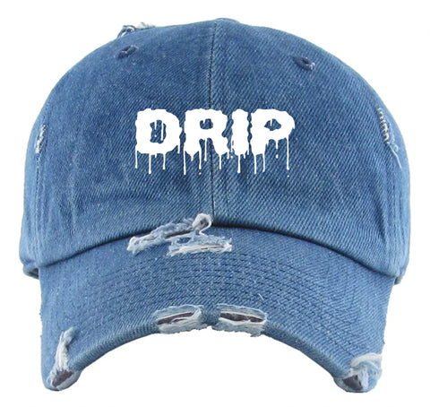 """DRIP"" DISTRESSED DAD HAT - DENIM/WHITE - Made4Mankind Clothing"
