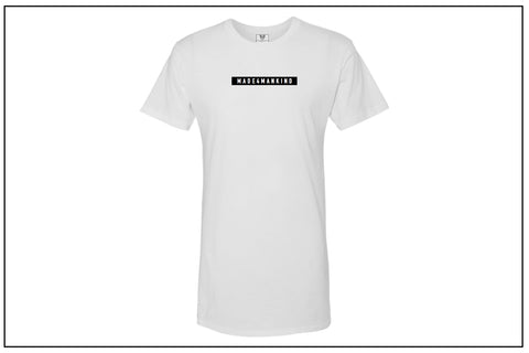 """HUSTLE"" Long Body Tee - White - Made4Mankind Clothing"