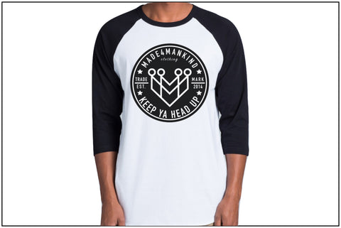 """KEEP YA HEAD UP"" Raglan Tee - Made4Mankind Clothing"