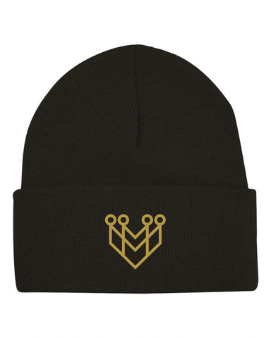 BASIC LOGO BEANIE - BLACK/GOLD - Made4Mankind Clothing