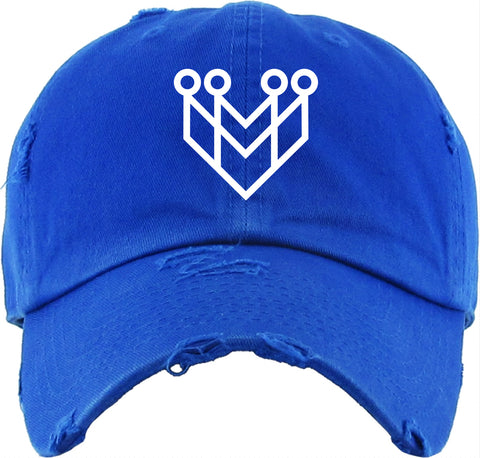 """CROWN LOGO"" DISTRESSED DAD HAT - ROYAL/WHITE - Made4Mankind Clothing"
