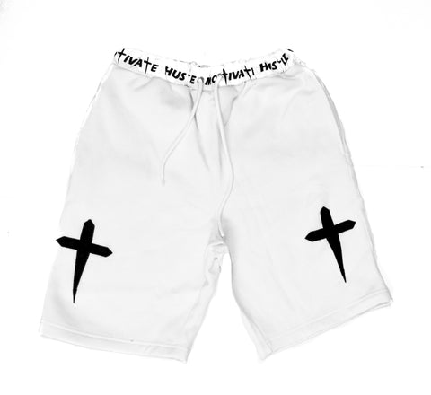 HUSTLE & MOTIVATE SHORTS - WHITE - Made4Mankind Clothing