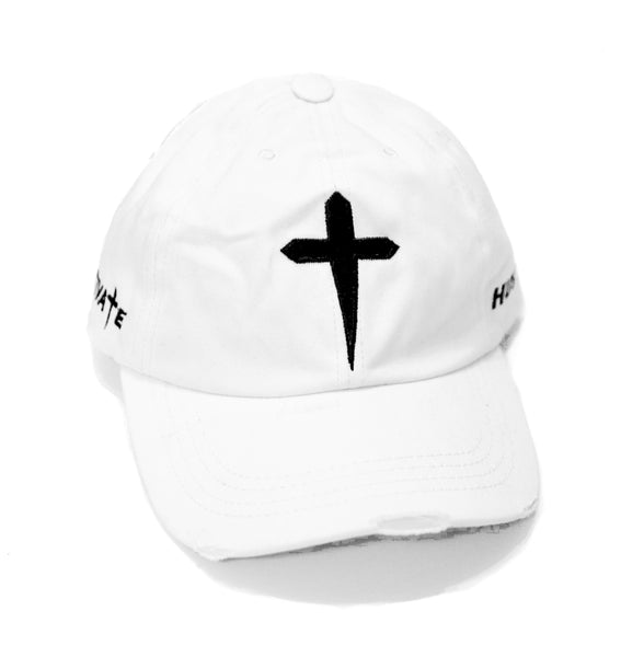HUSTLE & MOTIVATE DAD HAT - WHITE - Made4Mankind Clothing